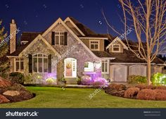 Big Luxury House At Dusk, Night In Suburb Of Vancouver, Canada. Stock Photo 269795675 : Shutterstock