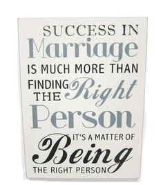 Success In Marriage Sign