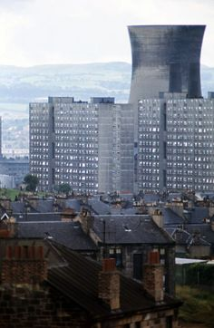 Sighthill and Pinkston Power Station Cooling Tower from the Springburn Rooftops - May 1972