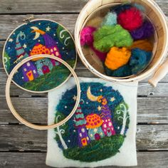 Whimsy Houses 2D Needle Felting KIT ONLY by starmagnolias on Etsy https://www.etsy.com/listing/473283356/whimsy-houses-2d-needle-felting-kit-only