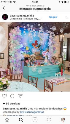 Jeslyn's Birthday Party Mermaid Theme Birthday, Little Mermaid Birthday, Little Mermaid Parties, Birthday Party Decorations, 1st Birthday Parties, Underwater Birthday, Mermaid Baby Showers, Baby Party, Party Ideas