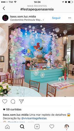 Jeslyn's Birthday Party Mermaid Theme Birthday, Little Mermaid Birthday, Little Mermaid Parties, 1st Birthday Parties, Birthday Party Decorations, Underwater Birthday, Mermaid Baby Showers, Baby Party, Party Ideas