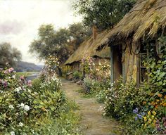 Summer Garden by Louis Aston Knight in PDF format. All my patterns are created using a combination of computer and hand correction. The second Louis Aston Knight, Cottage Art, Painted Cottage, Image Fruit, Pintura Exterior, Image Nature, Images Vintage, Knight Art, Summer Garden