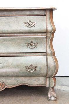 beautiful painted bombe three drawer chest