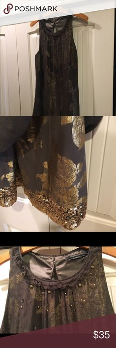 Beautiful BCBG dress! Size 8 Great dress!! Subtle floral and sequin gold pop under sheer layer. Has lovely attention to detail with beadwork at top. Fits comfortably but looks dressy, size 8 and only gently used worn maybe 2-3x BCBGMaxAzria Dresses Mini