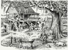 """""""La boucherie des cajuns"""" or Cajun Boucherie, Floyd Sonnier print"""