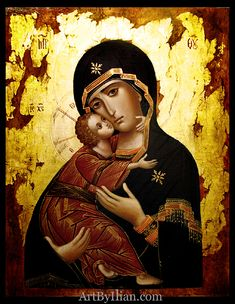 The Virgin Mother of Vladimir. 40x30cm, glod and egg tempera on wood. Private collection. Italy