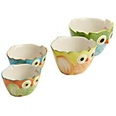 Owl Measuring Cups from Pier 1. @Elizabeth Gabriel - maybe you could use these to hold things in Bernie's room.  They have other owl goodies at Pier 1 too.