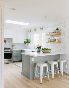 10 Endless Tips: Small Kitchen Remodel No Window oak kitchen remodel builder grade.Kitchen Remodel Tile Layout simple kitchen remodel home.Small Kitchen Remodel No Window. Living Room Kitchen, New Kitchen, Kitchen Decor, Living Rooms, Apartment Kitchen, Kitchen Grey, U Shape Kitchen, Country Kitchen, Kitchen Small