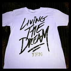 """YRN Men's Tee Young Rich Nation Men's Tee//White with Gold & Grey writing. """"Living the Dream"""". Worn once in excellent condition :) Young Rich Nation Tops Tees - Short Sleeve"""