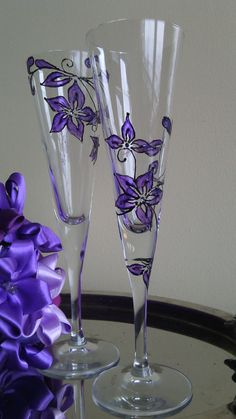 Set of 2 hand painted champagne flutes by PaintedGlassBiliana, $38.00
