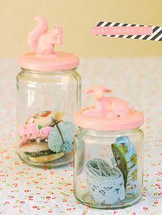 Pink animal jam jars