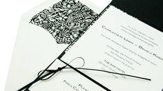 Square wedding pocketfold - Templates and instructions to make your own #DIYWeddingInvites #BlackCreamWedding #DamaskWedding