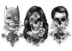 Batman, Superman And Wonder Woman Tattoo-Style Art   Sci-Fi Design