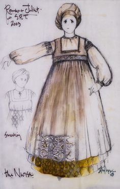 Romeo and Juliet (Nurse). Costume design by David Murin. Nurse Romeo And Juliet, Romeo And Juliet Clothing, Romeo And Juliet Drawing, Theatre Costumes, Cool Costumes, Vintage Costumes, Amazing Costumes, William Shakespeare, Character Creation