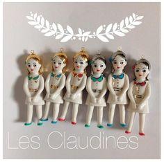 """Les Claudines"", ceramic doll pendants by Natacha Plano"