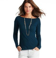 Cotton Zip Shoulder Long Sleeve Tee, $39.50