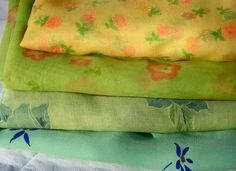 Vintage FABRIC LOT Rayon Chiffon Voile Poly Crepe by dyenah, $25.00