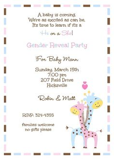 Gender Reveal Couples Baby Shower with mommy and daddy to be pink and blue giraffes in love.