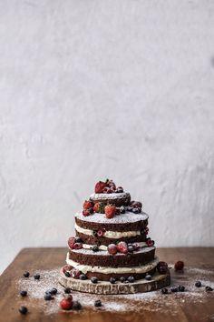 Wedding cake. Naked chocolate cake