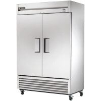 The is a stainless steel reach in refrigerator with two solid, self-closing doors. An extra large evaporator coil, powerful compressor an. Two Door Refrigerator, Stainless Steel Refrigerator, Tall Cabinet Storage, Locker Storage, Restaurant Equipment, Restaurant Supply, Solid Doors, Restaurant Furniture, Food Service Equipment