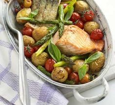 One pan salmon with roast asparagus is a quick and easy dish to prepare. This hearty yet healthy meal is sure to please the whole family.