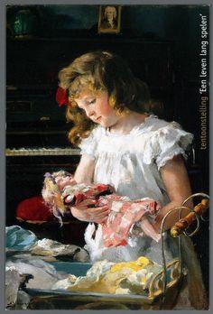 """Het poppenmoedertje  Reclameprent voor de tentoonstelling """"Een leven lang spelen"""" van 23 juni t/m 27 oktober 2001 in het Veluws Museum Nairac, met een afbeelding van een meisje met een pop"""