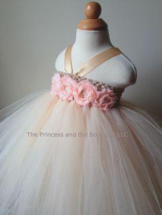Flower girl dress champagne, peach tutu dress, roses, baby tutu dress, toddler tutu dress,newborn-24, 2t,2t,4t,5t, birthday