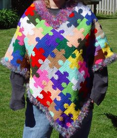 Autism Awareness Puzzle Piece Poncho**NEW**Puzzle Scarf added!!** - CROCHET