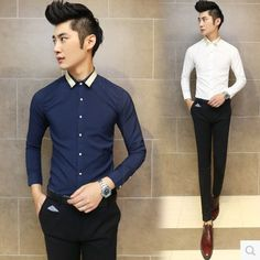 Find More Casual Shirts Information about Aliexpress Wholesale Unique Collar Design Korean Slim Style Runway Prom Shirts Sexy Men Free Shipping,High Quality Casual Shirts from HOTI STYLE on Aliexpress.com