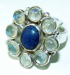 Beautiful item with Rainbow Moonstone, Lapis Lazuli Gemstone(s) set in pure 925 sterling silver.