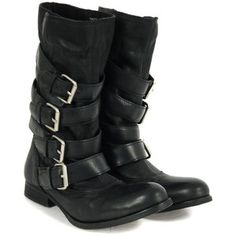 H By Hudson Keira Black Leather Boots