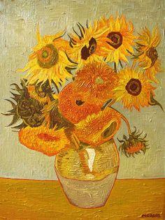 Sunflowers (Vincent van Gogh) by Peco Art ... Oil on canvas, 30x40cm ...