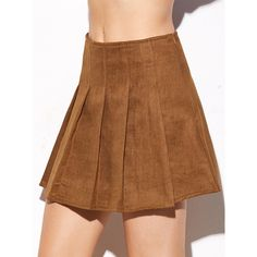 Camel Suede Pleated Zipper Skirt ($24) ❤ liked on Polyvore featuring skirts, camel, short brown skirt, zip skirt, suede leather skirt, brown pleated skirt and brown skirt