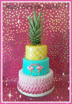 Flamingo pineapple cake ♡
