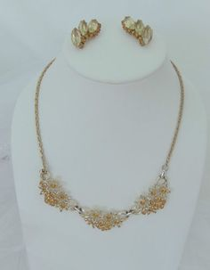 #BRIDALJEWELRY VINTAGE RHINESTONE NECKLACE & EARRINGS SET Orange Floral Formal Bridal Jewelry $9.99