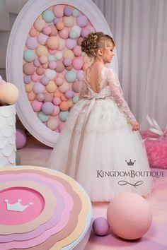 Ivory Cappuccino Flower Girl Dress Wedding by KingdomBoutiqueUA