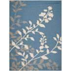 Courtyard Blue/Beige 8 ft. x 11 ft. Indoor/Outdoor Area Rug