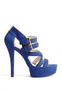 Blue Aria Suede Platform Sandals by MICHAEL Michael Kors