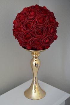 Diy Wedding Decorations Red Flower Ball 31 Ideas For 2019 Elegant Flowers, Red Flowers, Red Roses, Table Flowers, Quinceanera Decorations, Wedding Decorations, Quinceanera Party, Red Quinceanera Dresses, Church Decorations