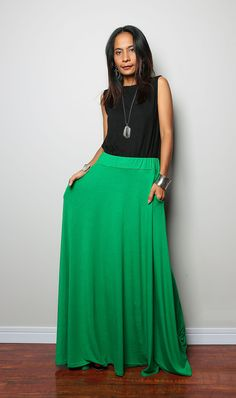Floor length skirt / Maxi Skirt Long Soft Green Skirt by Nuichan Current Fashion Trends, Urban Chic, City Style, African Fashion, Looks Great, Floor, Travel Outfits, Gowns, Trending Fashion
