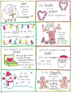 Christmas love notes for the Hubby