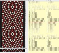 42 cards, 3 colors, repeats every 28 rows GTT༺❁ Inkle Weaving, Inkle Loom, Card Weaving, Yarn Crafts, Bead Crafts, Tablet Weaving Patterns, Finger Weaving, Willow Weaving, Woven Belt