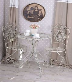 Garden #furniture set chairs and #table wrought patio #bistro shabby chic cast ir,  View more on the LINK: 	http://www.zeppy.io/product/gb/2/400963360223/