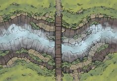 The Rope Bridge, a battle map for D&D / Dungeons & Dragons, Pathfinder, Warhammer and other table top RPGs. Tags: gorge, battle map, cliff, river, road, stream, trail, water, wilderness