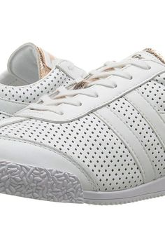 Gola Harrier Glimmer Leather (White/Rose Gold) Women's Shoes - Gola, Harrier Glimmer Leather, CLA193, Footwear Athletic General, Athletic, Athletic, Footwear, Shoes, Gift, - Street Fashion And Style Ideas