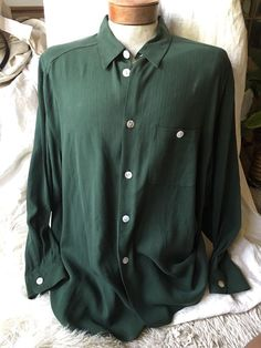 Holt Renfrew Silk Shirt XL Green Button Down Mens Extra Large Sexy Chic!!!!  | eBay