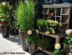 like the cubbies on the top of this potting bench