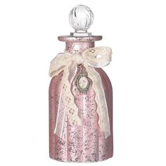 GLASS BOTTLE IN PINK COLOR 6X6X13