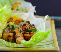 Vegan Thai Lettuce Cups with Peanut Sauce . These Thai flavored tofu lettuce wraps use duck sauce to give a bonus of sweet tangy flavor!